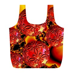 Flame Delights, Abstract Red Orange Reusable Bag (L)
