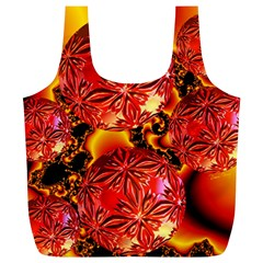 Flame Delights, Abstract Red Orange Reusable Bag (XL)