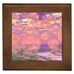 Glorious Skies, Abstract Pink And Yellow Dream Framed Ceramic Tile