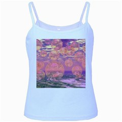 Glorious Skies, Abstract Pink And Yellow Dream Baby Blue Spaghetti Tank