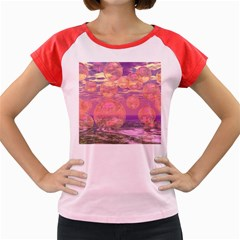 Glorious Skies, Abstract Pink And Yellow Dream Women s Cap Sleeve T-Shirt (Colored)