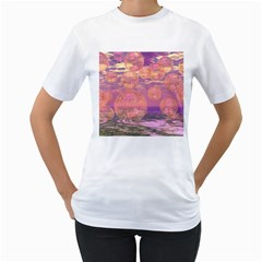 Glorious Skies, Abstract Pink And Yellow Dream Women s Two-sided T-shirt (White)