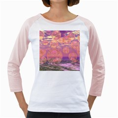Glorious Skies, Abstract Pink And Yellow Dream Women s Long Cap Sleeve T-Shirt (White)
