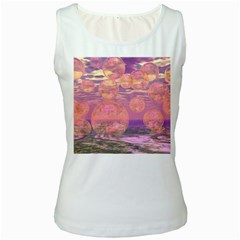 Glorious Skies, Abstract Pink And Yellow Dream Women s Tank Top (White)