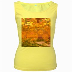 Glorious Skies, Abstract Pink And Yellow Dream Women s Tank Top (Yellow)