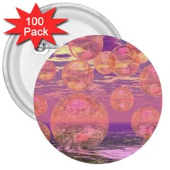 Glorious Skies, Abstract Pink And Yellow Dream 3  Button (100 pack)