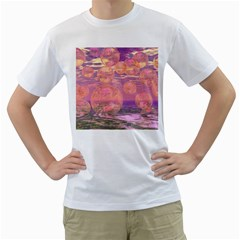 Glorious Skies, Abstract Pink And Yellow Dream Men s Two Sided T Shirt (white)