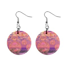 Glorious Skies, Abstract Pink And Yellow Dream Mini Button Earrings