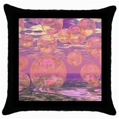 Glorious Skies, Abstract Pink And Yellow Dream Black Throw Pillow Case