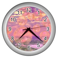 Glorious Skies, Abstract Pink And Yellow Dream Wall Clock (Silver)