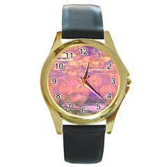 Glorious Skies, Abstract Pink And Yellow Dream Round Leather Watch (gold Rim)