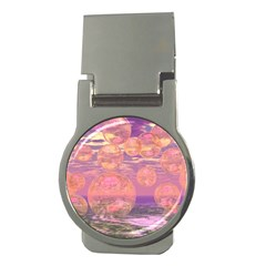 Glorious Skies, Abstract Pink And Yellow Dream Money Clip (Round)