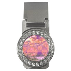Glorious Skies, Abstract Pink And Yellow Dream Money Clip (CZ)