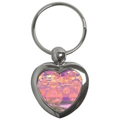 Glorious Skies, Abstract Pink And Yellow Dream Key Chain (heart)