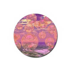 Glorious Skies, Abstract Pink And Yellow Dream Drink Coaster (Round)