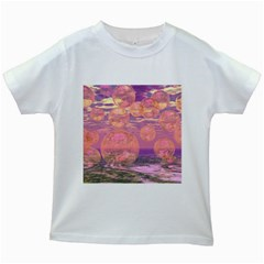 Glorious Skies, Abstract Pink And Yellow Dream Kids T-shirt (White)