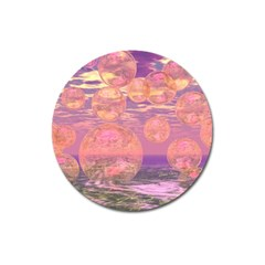 Glorious Skies, Abstract Pink And Yellow Dream Magnet 3  (Round)
