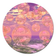 Glorious Skies, Abstract Pink And Yellow Dream Magnet 5  (Round)