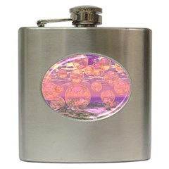Glorious Skies, Abstract Pink And Yellow Dream Hip Flask