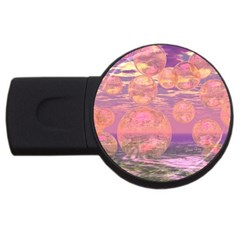 Glorious Skies, Abstract Pink And Yellow Dream 1GB USB Flash Drive (Round)