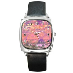 Glorious Skies, Abstract Pink And Yellow Dream Square Leather Watch