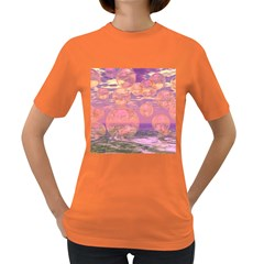 Glorious Skies, Abstract Pink And Yellow Dream Women s T Shirt (colored)