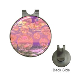 Glorious Skies, Abstract Pink And Yellow Dream Hat Clip With Golf Ball Marker