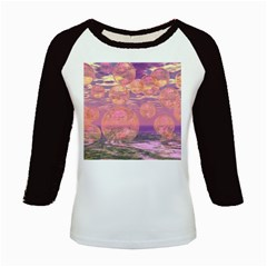 Glorious Skies, Abstract Pink And Yellow Dream Kids Long Cap Sleeve T Shirt