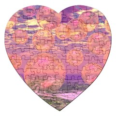 Glorious Skies, Abstract Pink And Yellow Dream Jigsaw Puzzle (Heart)