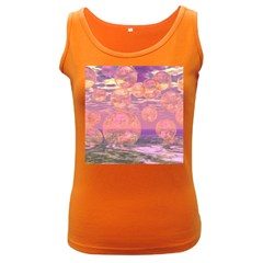 Glorious Skies, Abstract Pink And Yellow Dream Women s Tank Top (Dark Colored)