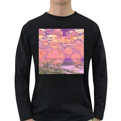 Glorious Skies, Abstract Pink And Yellow Dream Men s Long Sleeve T-shirt (Dark Colored)