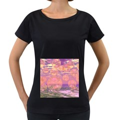 Glorious Skies, Abstract Pink And Yellow Dream Women s Loose-Fit T-Shirt (Black)