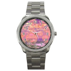 Glorious Skies, Abstract Pink And Yellow Dream Sport Metal Watch