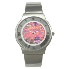 Glorious Skies, Abstract Pink And Yellow Dream Stainless Steel Watch (slim)