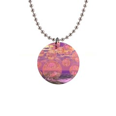 Glorious Skies, Abstract Pink And Yellow Dream Button Necklace