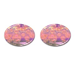 Glorious Skies, Abstract Pink And Yellow Dream Cufflinks (oval)