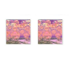 Glorious Skies, Abstract Pink And Yellow Dream Cufflinks (square)