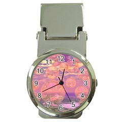 Glorious Skies, Abstract Pink And Yellow Dream Money Clip With Watch