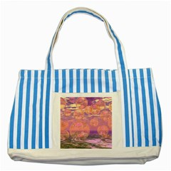 Glorious Skies, Abstract Pink And Yellow Dream Blue Striped Tote Bag