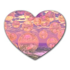 Glorious Skies, Abstract Pink And Yellow Dream Mouse Pad (heart)