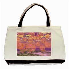 Glorious Skies, Abstract Pink And Yellow Dream Twin-sided Black Tote Bag