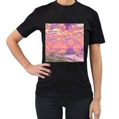 Glorious Skies, Abstract Pink And Yellow Dream Women s T-shirt (Black)