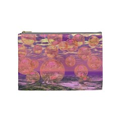 Glorious Skies, Abstract Pink And Yellow Dream Cosmetic Bag (medium)
