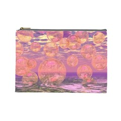 Glorious Skies, Abstract Pink And Yellow Dream Cosmetic Bag (large)