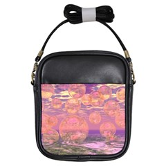 Glorious Skies, Abstract Pink And Yellow Dream Girl s Sling Bag