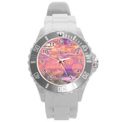 Glorious Skies, Abstract Pink And Yellow Dream Plastic Sport Watch (Large)