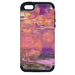 Glorious Skies, Abstract Pink And Yellow Dream Apple Iphone 5 Hardshell Case (pc+silicone)