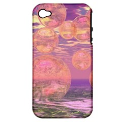 Glorious Skies, Abstract Pink And Yellow Dream Apple iPhone 4/4S Hardshell Case (PC+Silicone)