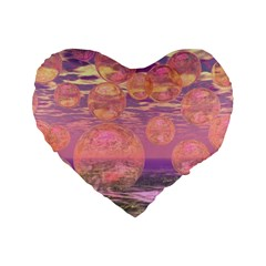 Glorious Skies, Abstract Pink And Yellow Dream 16  Premium Heart Shape Cushion