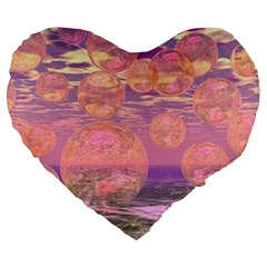 Glorious Skies, Abstract Pink And Yellow Dream 19  Premium Heart Shape Cushion